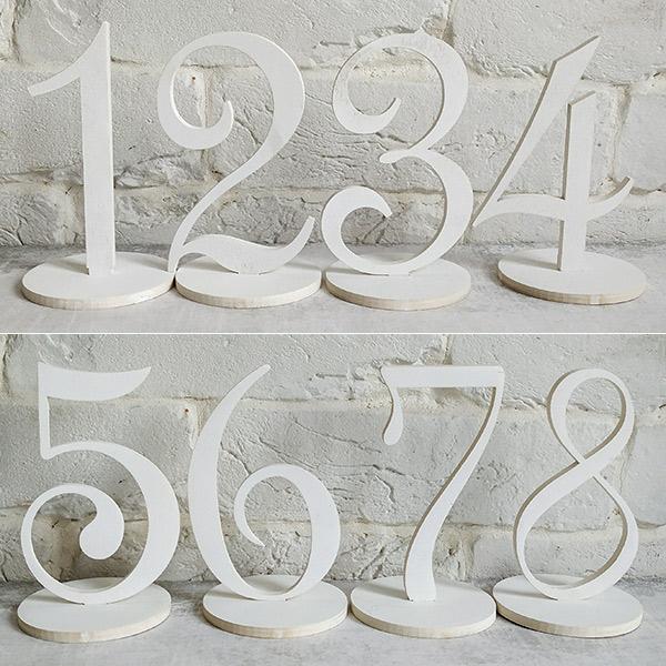 Набор деревянных номеров столов (1-8, белый)