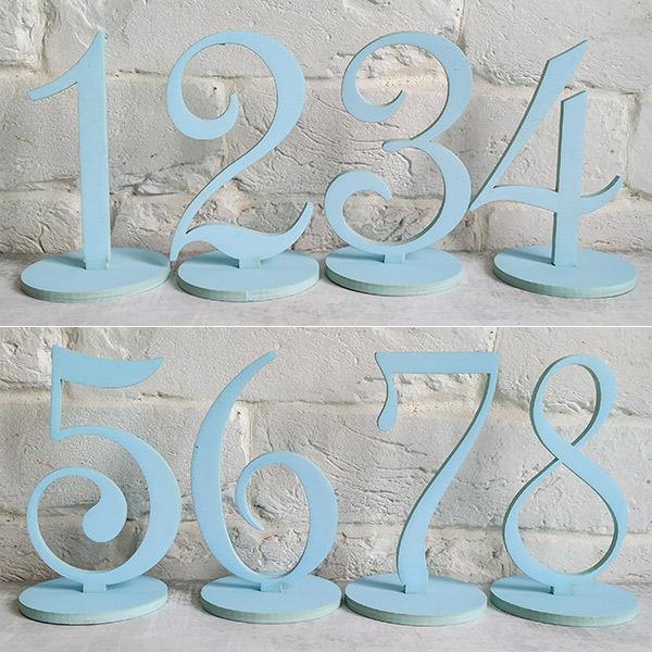 Набор деревянных номеров столов (1-8, небесно-голубой)