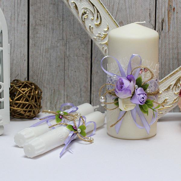 """Свадебные свечи +2 свечи для молодоженов """"Прованс"""" (без подсвечников) (сиреневый)"""
