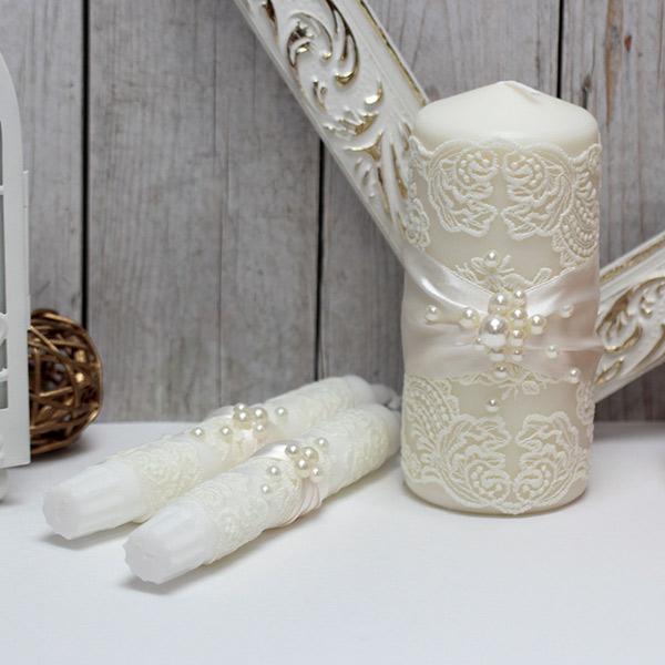 """Свадебные свечи для молодоженов """"Жемчужина-new"""" (без подсвечников) (айвори)"""
