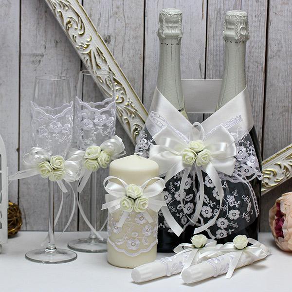 Комплект аксессуаров для свадьбы Розанна-new (айвори)