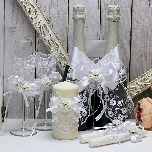 Комплект аксессуаров для свадьбы Розанна-new (белый)