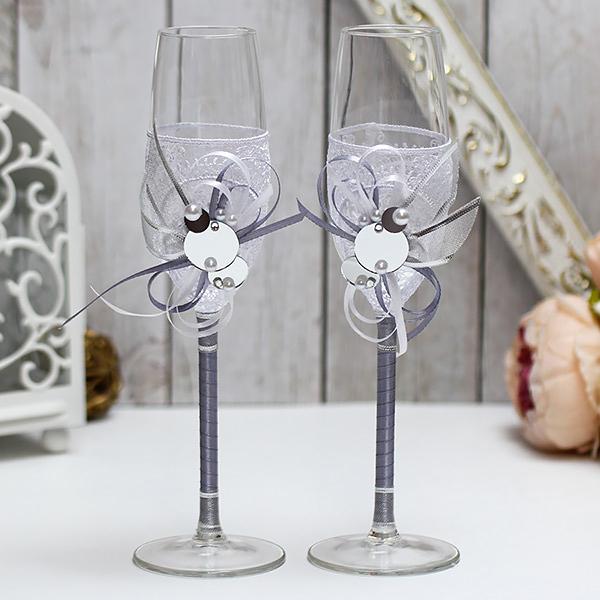 """Необычные свадебные бокалы ручной работы """"В зеркальном блеске"""" (2 шт) (серебряный)"""