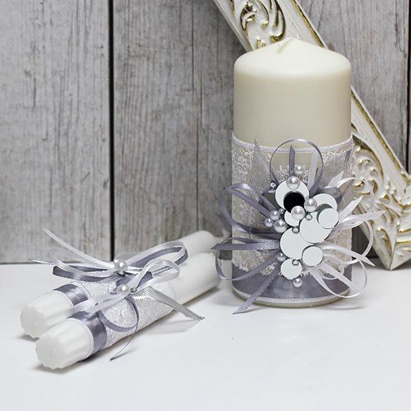 """Необычные свадебные свечи """"В зеркальном блеске"""" (без подсвечников) (серебряный)"""