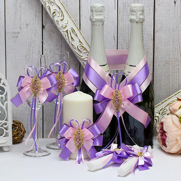 Комплект аксессуаров для свадьбы Поцелуй бабочки (сиреневый)
