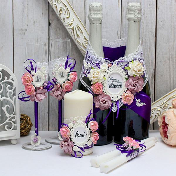 """Комплект свадебных аксессуаров """"Таинственный сад"""" (3, фиолетовый)"""