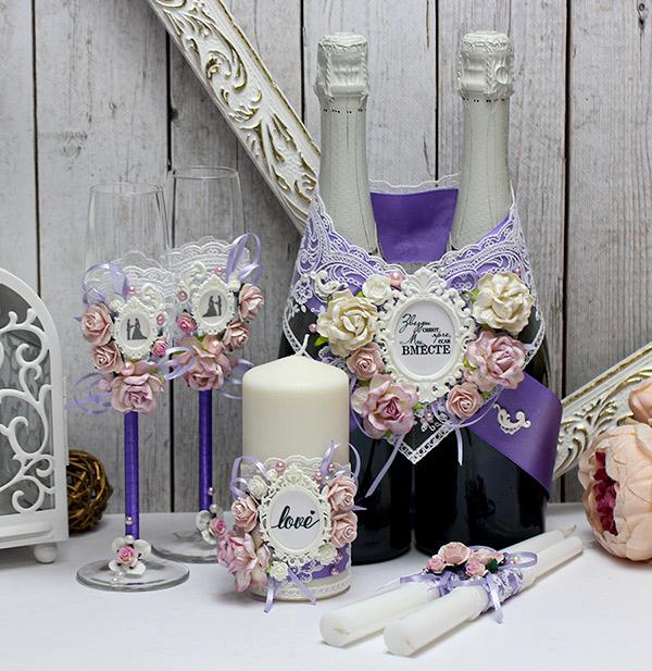 """Комплект свадебных аксессуаров """"Таинственный сад"""" (3, сиреневый)"""