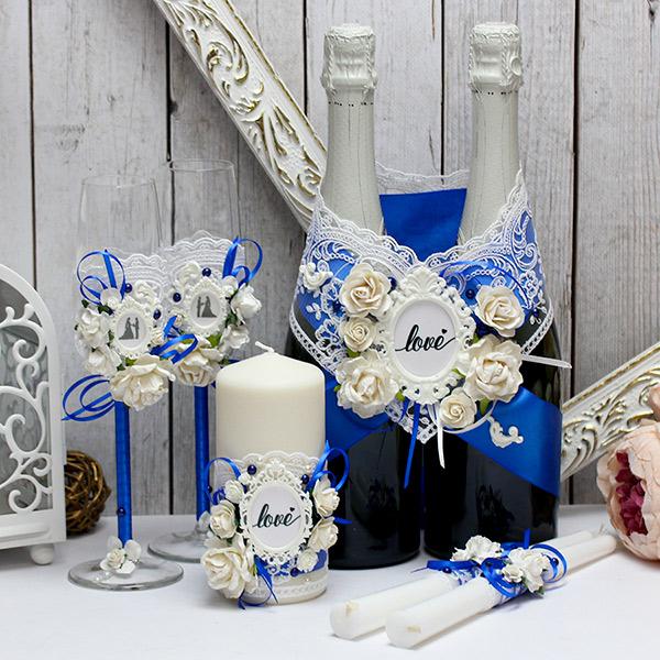 """Комплект свадебных аксессуаров """"Таинственный сад"""" (синий)"""