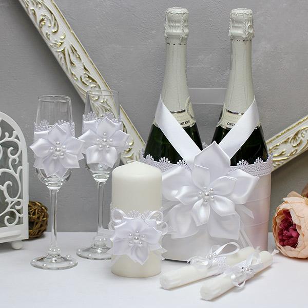 Комплект аксессуаров для свадьбы Нежные цветы-new (белый)