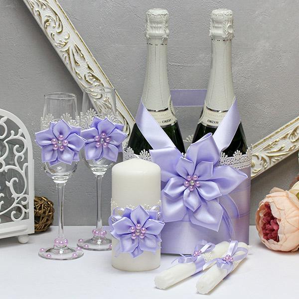 Комплект аксессуаров для свадьбы Нежные цветы-new (сиреневый)