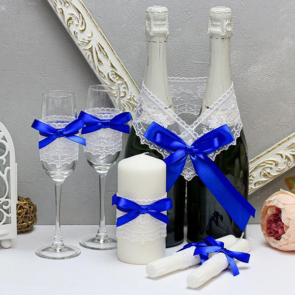"""Недорогой набор свадебных аксессуаров """"Бантик-new"""" (3)(синий)"""