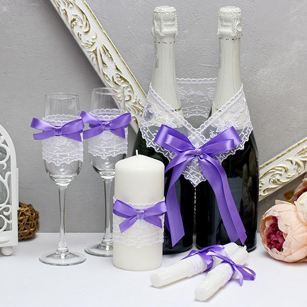 """Недорогой набор свадебных аксессуаров """"Бантик-new"""" (3)(сиреневый)"""