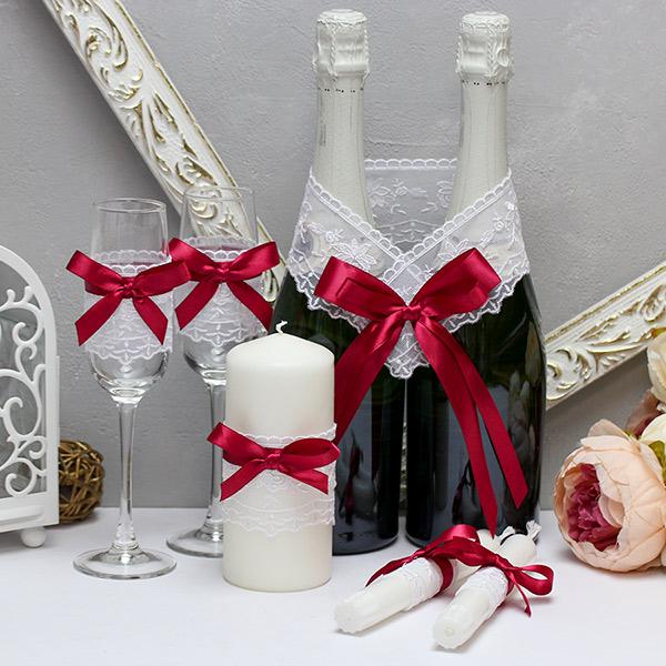 Недорогой набор свадебных аксессуаров Бантик-new (винный)