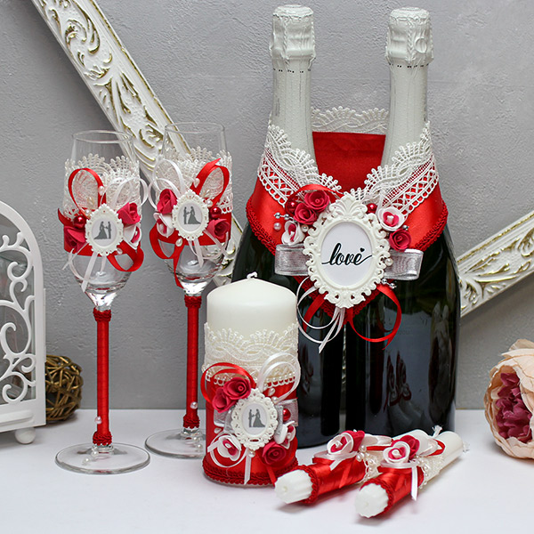 Комплект свадебных аксессуаров Летний вечер-new (красный)