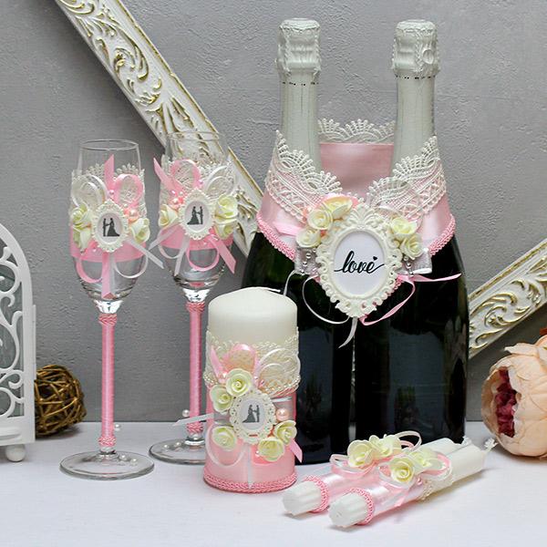 Комплект свадебных аксессуаров Летний вечер-new (розовый)