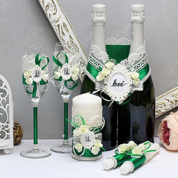 """Комплект свадебных аксессуаров """"Летний вечер-new"""" (3) (изумрудный)"""