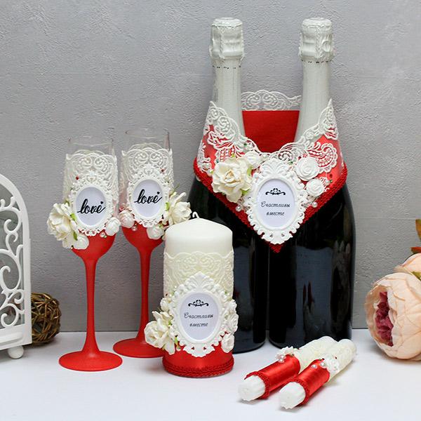 Набор свадебных аксессуаров Сливочный десерт-new (красный)