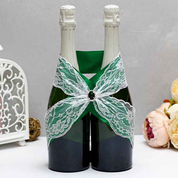 Свадебное украшение для шампанского Афродита (изумрудный)