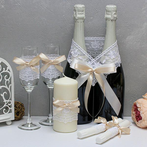Недорогой набор свадебных аксессуаров Бантик-new (айвори)