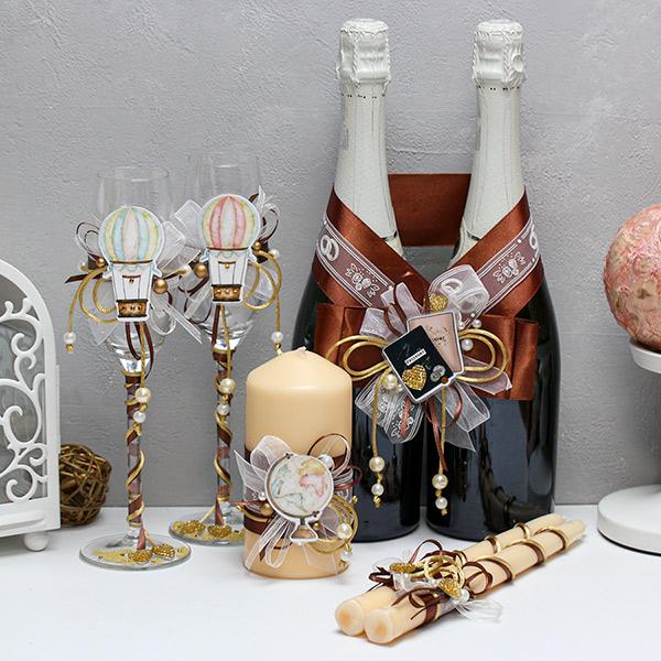 """Комплект аксессуаров для свадьбы в стиле путешествий """"Выше облаков""""(3)(шоколадный)"""