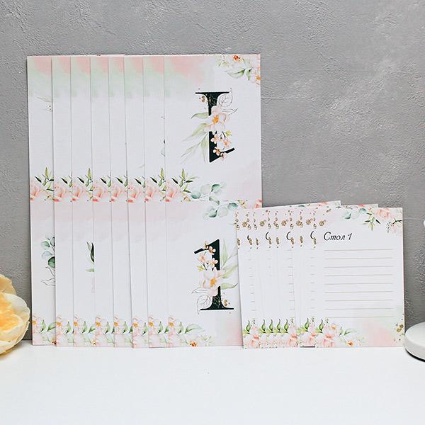 """Набор карточек с номером стола+карточки для плана рассадки """"Таинственный сад"""" (дизайн 1)(от 1 до 8)"""