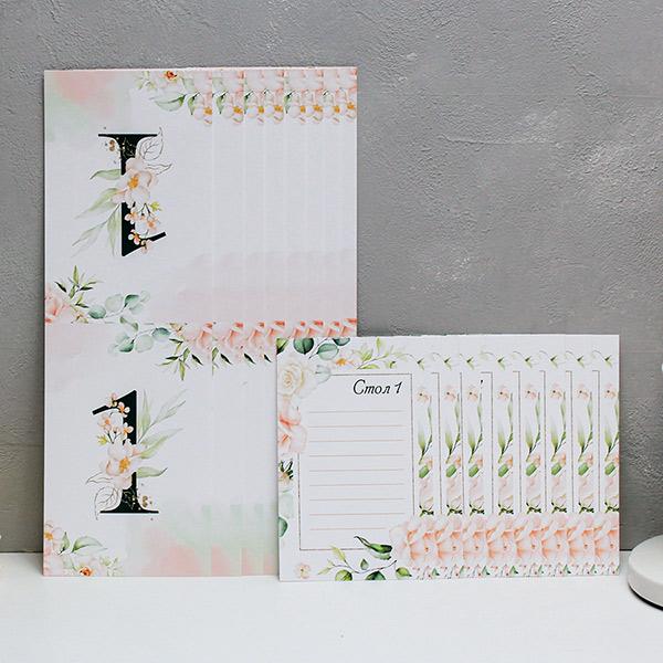 """Набор карточек с номером стола+карточки для плана рассадки """"Таинственный сад"""" (дизайн 2)(от 1 до 8)"""