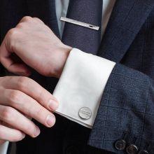 Набор: запонки + зажим для галстука (серебристый)