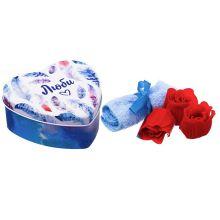 """Сувенирный набор мыльных лепестков + полотенце в шкатулке """"Люби"""""""