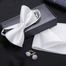 """Набор для жениха """"Запонки/платок/галстук-бабочка"""" (белый)"""