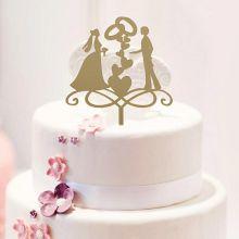 "Топпер в торт ""Кольца любви"",13х18 см, цвет золото"