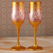 """Свадебные бокалы """"Лебеди"""", золотисто-розовый"""