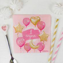 """Бумажные салфетки """"1 годик, розовый"""", 20 шт., 25*25см"""