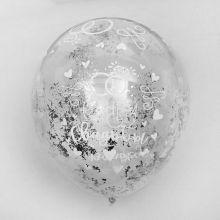 """Воздушные шары с конфетти """"С днем свадьбы"""", серебро, 5 шт."""