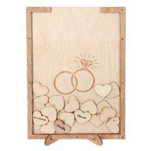 "Рамка пожеланий из дерева ""Кольца двух сердец"""