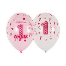 """Набор воздушных шаров """"1 годик дочке"""", шелкография, цвет МИКС, 30 см (10 шт)"""