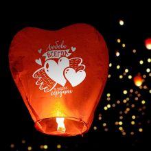 """Небесный фонарик-сердце """"Любовь в сердцах"""", цвета МИКС"""