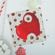 """Праздничные бумажные салфетки """"Сердце в ромашках"""", 20 шт., 33*33 см"""