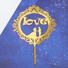 """Топпер в торт """"Признание в любви"""", акрил, цвет золото"""