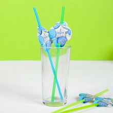 "Трубочки для напитков ""1 годик, шарики"", 6 шт., голубой"