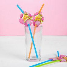 """Трубочки для напитков """"1 годик, шарики"""", 6 шт., розовый"""