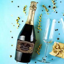 Наклейка на бутылку «Свадебное шампанское» черно-золотая, 12 × 8 см