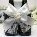 Свадебное украшение на бутылки