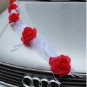 Лента фатиновая с розой (красный)