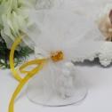 Бонбоньерка из фатина с цветком (белая)