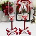 Красные свадебные бокалы ручной работы