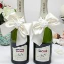 Декоративное украшение свадебных бутылок