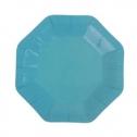 Восьмиугольные бумажные тарелки (6 шт, 18 см, голубые)