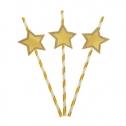 Трубочки для коктейля с большими звездами (6 шт, золотистые)