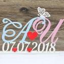 Инициалы и дата свадьбы (из дерева, на подставке, возможно изменение окраски)