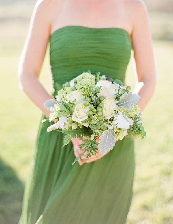 green-wedding-bouquet-and-green-bridesmaid-dress
